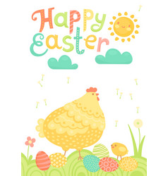 Happy easter festive postcard with hen chickens vector