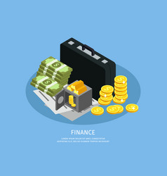 isometric business finance concept vector image vector image