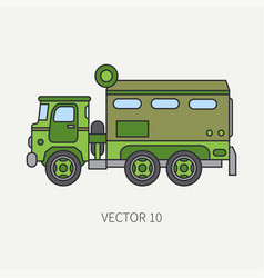 line flat color icon armored wagon army vector image vector image
