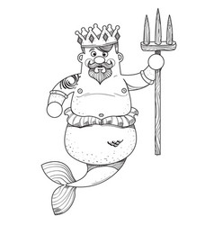 neptune cartoon character is king of the sea vector image