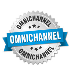 Omnichannel round isolated silver badge vector