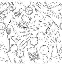 Seamless pattern with tools for makeup in black vector