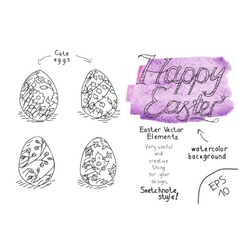 Set of eater eggs vector