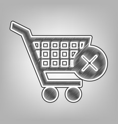 Shopping cart with delete sign pencil vector