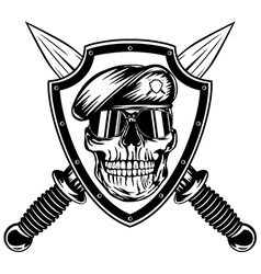 Skull in shield and daggers vector image