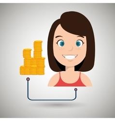 Woman cartoon currency money dollar vector