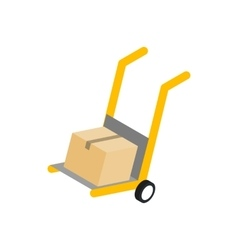 Yellow hand cart with cardboard box icon vector image