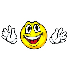 Yellow smiling face with hands in cartoon style vector
