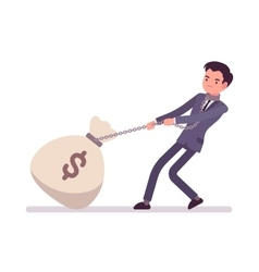 Businessman dragging a giant heavy money sack vector