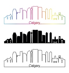 Calgary V2 skyline linear style with rainbow vector image