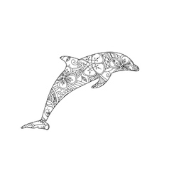 Coloring page with dolphin isolated on white vector