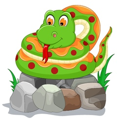 Cute snake cartoon on the stone vector