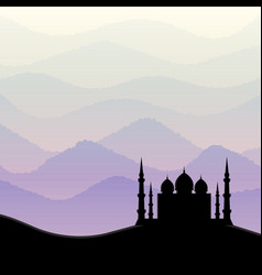 Sunrise background with mosque silhouette vector