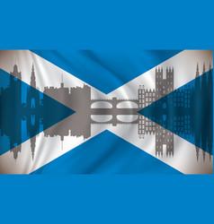 flag of scotland with edinburgh skyline vector image