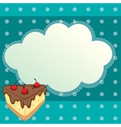 A special paper with a slice of cake vector