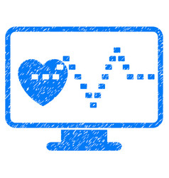 Cardio monitoring grunge icon vector