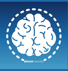White brain icon design on colorful backdrop vector