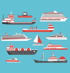 Ships set oil tanker yacht bulk carrier gas vector