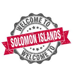 Solomon islands round ribbon seal vector