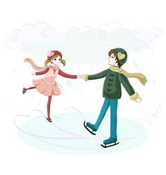 Couple on the rink vector