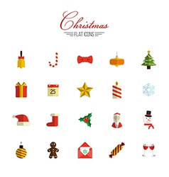 set of flat christmas icons vector image