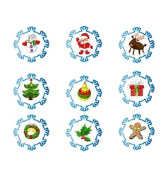 Set of christmas icons in cartoon style vector