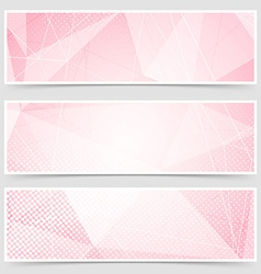 Red crystal structure abstract header set vector