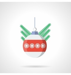 Xmas sphere bauble flat color icon vector