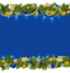 Sapphirine christmas border with garland vector