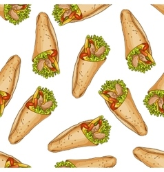 Seamless pattern color burrito vector