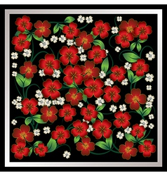 abstract red floral ornament on black background vector image vector image