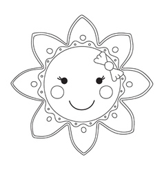Black and white cartoon sun vector