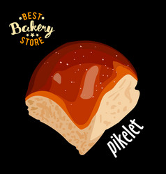 Butter sweet bun for dinner baked bread vector