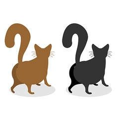 Cat back pet escapes funny animal with bushy tail vector