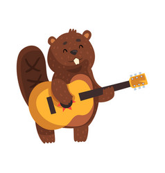 Cheerful little beaver playing on guitar cartoon vector