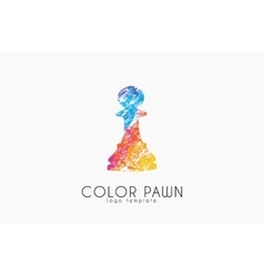 Chess pawn color pawn logo chess logo creative vector
