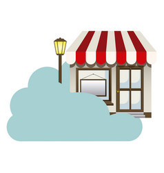 Cloud in cumulus shape with store with lamp vector