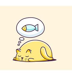 color sleeping character cat on yellow ba vector image