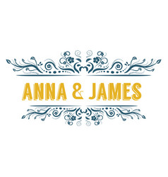 elegant retro vintage wedding ornament title frame vector image