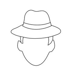 Faceless man wearing hat icon image vector