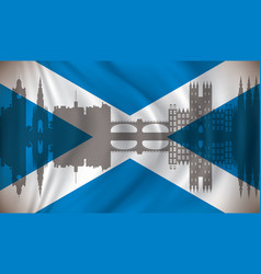 Flag of scotland with edinburgh skyline vector