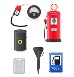 fuel set icons vector image vector image