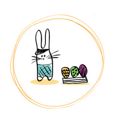 funny easter bunny in the hat shorts and a box of vector image vector image