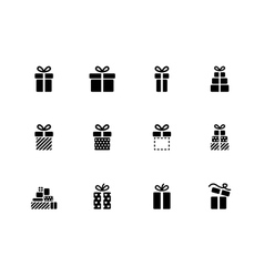 Gift box icons on white background vector image vector image