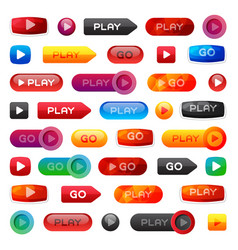 Go and play buttons media player internet website vector