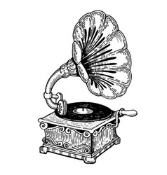 gramophone engraving style vector image vector image