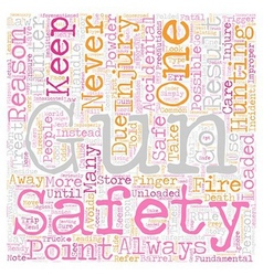 gun safety for hunters text background wordcloud vector image vector image