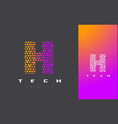 h letter logo technology connected dots letter vector image vector image