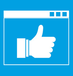 Hand with thumb up in browser icon white vector