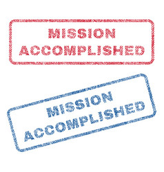 Mission accomplished textile stamps vector
